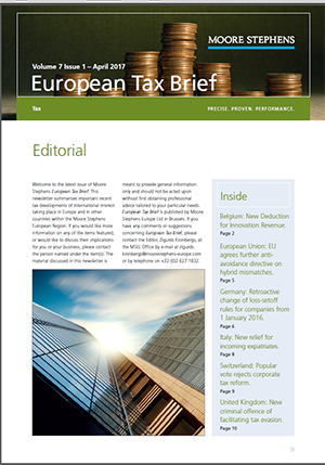 European Tax Brief - April 2017 - Moore Stephens International Limited