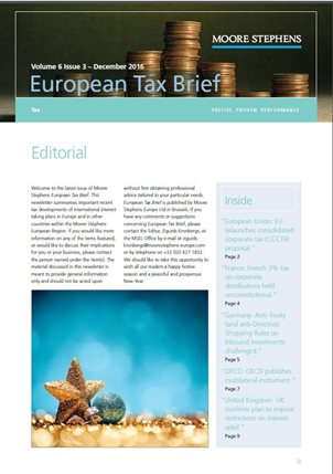 European Tax Brief - December 2016
