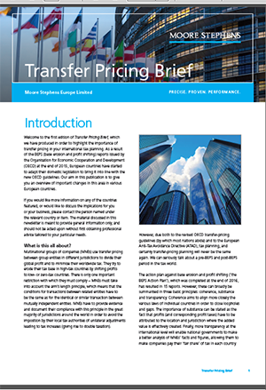Transfer pricing brief Moore Stephens Europe Limited