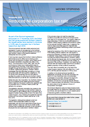 Reduced Northern Ireland corporation tax rate Moore Stephens International report
